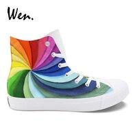 Wen Custom Design Rainbow Vortex Colorful Original Shoes Hand Painted Unisex Vulcanized Shoes High Top Canvas
