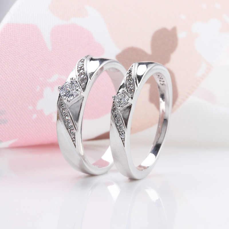 Big 95% OFF! YHAMNI Original 925 แหวนเงินสำหรับสตรีและผู้ชาย CZ Zircon เครื่องประดับหมั้นงานแต่งงานแหวนของขวัญ XJZ286
