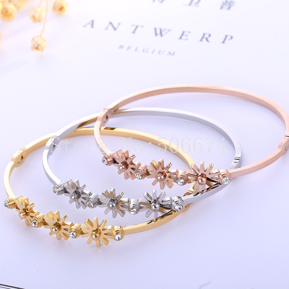 Top Quality Sunflower Beads brand Fashion Jewelry Cuff Carter Bracelets Bangles 316L Stainless Steel Bracelets For Women