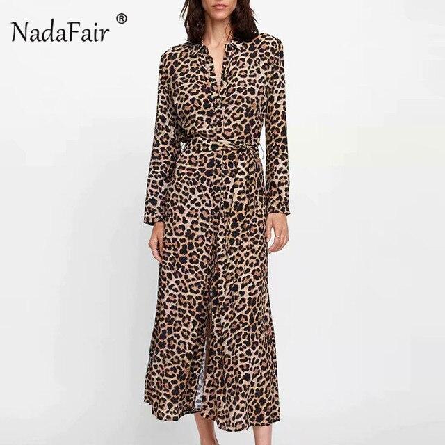 c6a7c5f6 US $13.1 12% OFF|Nadafair animal leopard print dress elegant vestidos women  long sleeve turn down collar sash chiffon vintage leopard midi dress -in ...