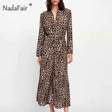 18aa6f7b7b8f Nadafair long sleeve animal leopard print dress women vestidos turn-down  collar sash bow tie vintage leopard midi dress elegant