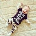 Nuevo 2016 otoño bebé niños niñas ropa de algodón recién nacido carta impreso tops + pants niños 2 unids infantiles traje ropa de bebé conjuntos