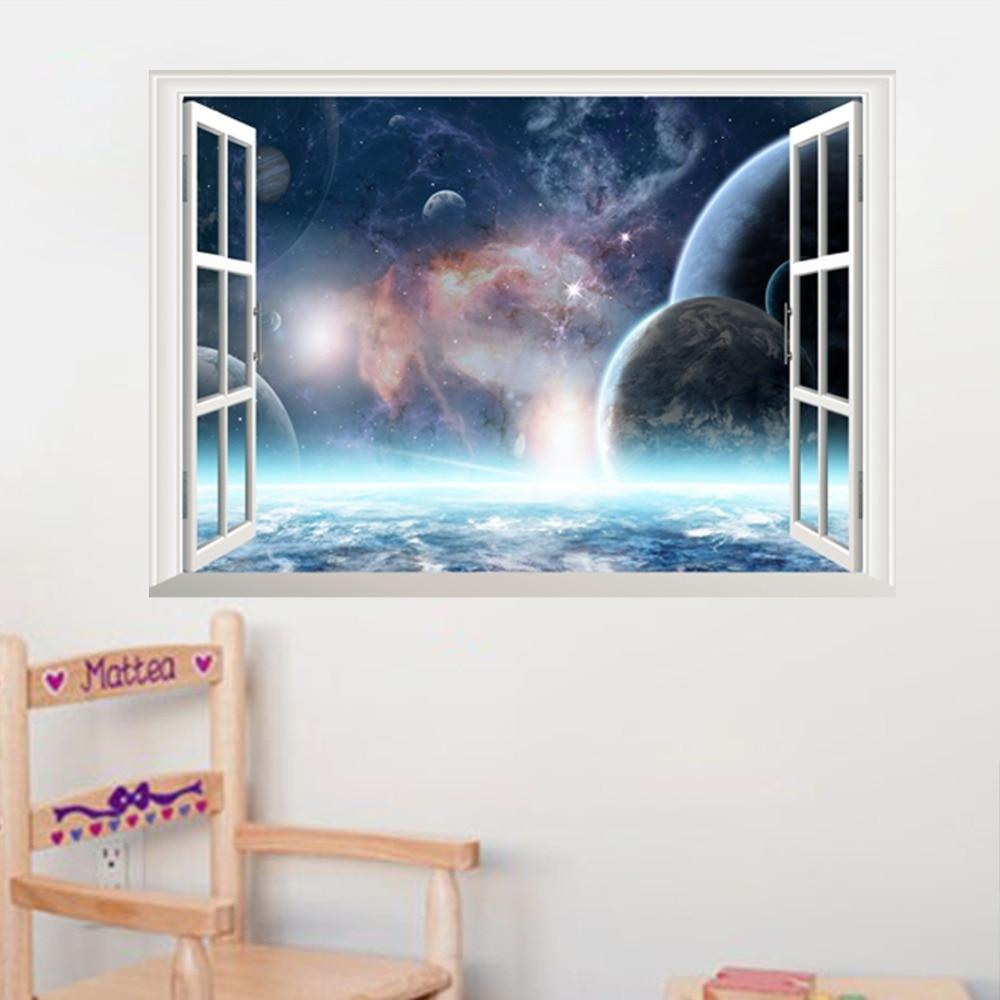 €3.07 9% de réduction|Sticker Mural planète espace extérieur pour enfants  décor de chambre Galaxy 3d fenêtre vue stickers muraux maison salon ...