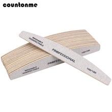 10 pçs/lote arquivos de unhas de madeira profissional buffer 100/180 limas manicura bloco cinza barco gel polimento de lixamento de madeira arquivo de unhas