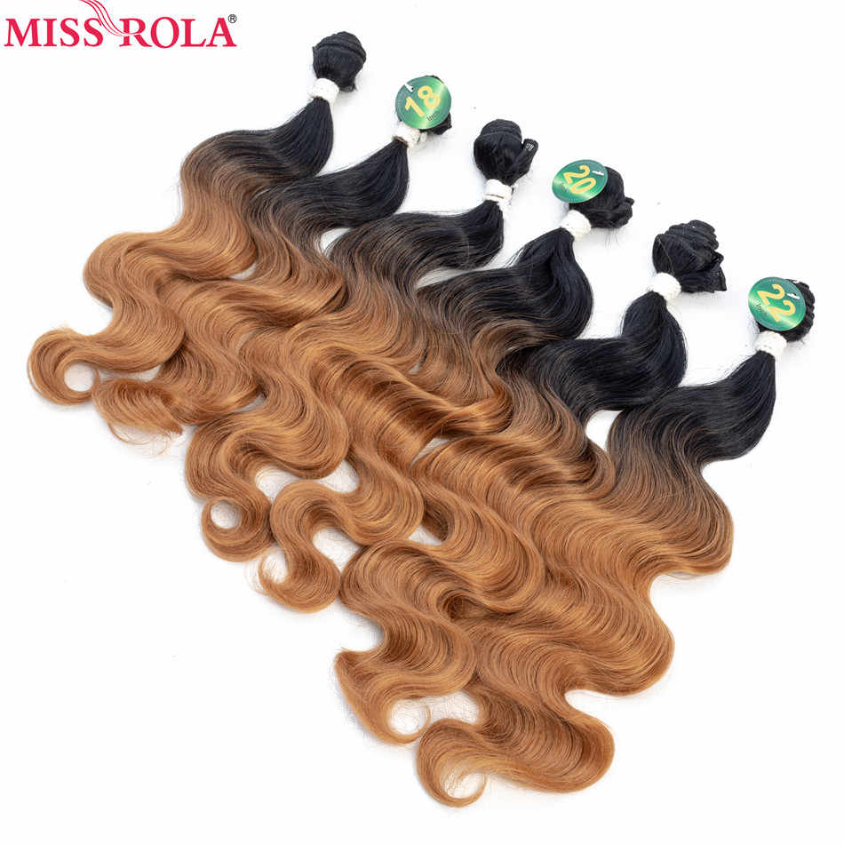 Miss Rola Ombre  Hair Bundles Synthetic Hair Extensions Body Wave Bundles #1B 6pcs 18-22'' Hair Weaves With Free Closure