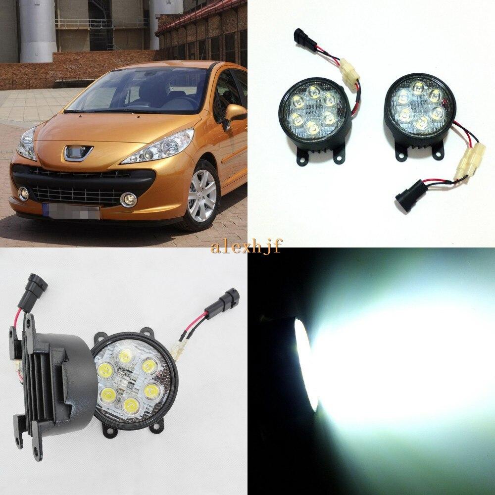 Кинг июля 18ВТ 6ledы Н11 светодиодные корпус Противотуманного фонаря в сборе для Peugeot 207 2006~2008, 6500К 1260LM LED дневные ходовые огни