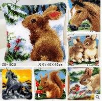 Animale Cavallo e Del coniglio Del Fumetto Latch Hook kit cuscino copertina mano artigianale del ricamo FAI DA TE Uncinetto fatto a mano cucito forniture