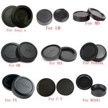 50 çift/grup kamera gövde kapağı + arka Lens kapağı Sony Alpha NEX Minolta MD Leica Pentax Olympus Micro m4/3 Fuji C Y M39 kamera