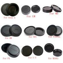 50 paire/lot capuchon de corps de caméra + capuchon dobjectif arrière pour Sony Alpha NEX Minolta MD Leica pour Pentax Olympus Micro M4/3 Fuji C Y M39 appareil photo