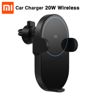 Original Xiaomi Mijia Wireless Car Charger 20W Max Electric Auto Pinch 2.5D Glass Ring Lit For Mi 9 (20W) MIX 2S / 3 (10W) Qi