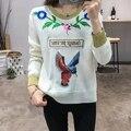 Новый 2016 Осень Женская Мода O Шеи Длинным Рукавом Пуловер Дамы Цветочные Птица Вышивка Свитер Потяните Femme