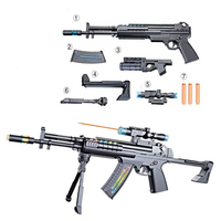 Plastic Outdoor Fun Sports New children's luminous toy gun Disassembled electric soft bullet gun Military model pistol toy