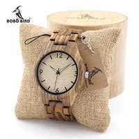 BOBO BIRD Mens Zebrawood Wooden Watches with Wood Strap Quartz Analog with Quality Miyota Movement Tri-Fold Clasp