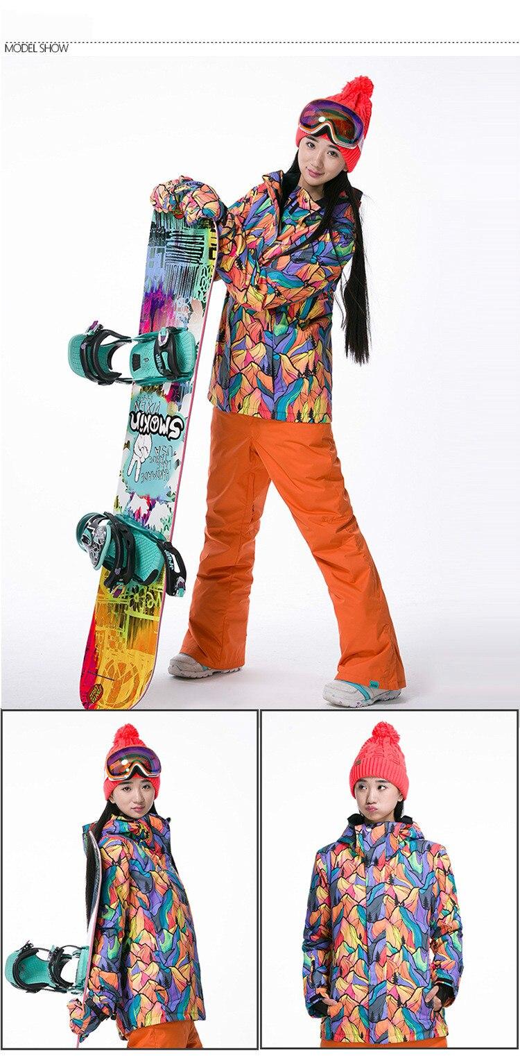 GSOU NEVE Terno De Esqui de Inverno da Marca das Mulheres Ao Ar Livre à prova de vento À Prova D' Água Jaqueta De Esqui Respirável Quente Algodão Roupas de Desgaste oposição - 4