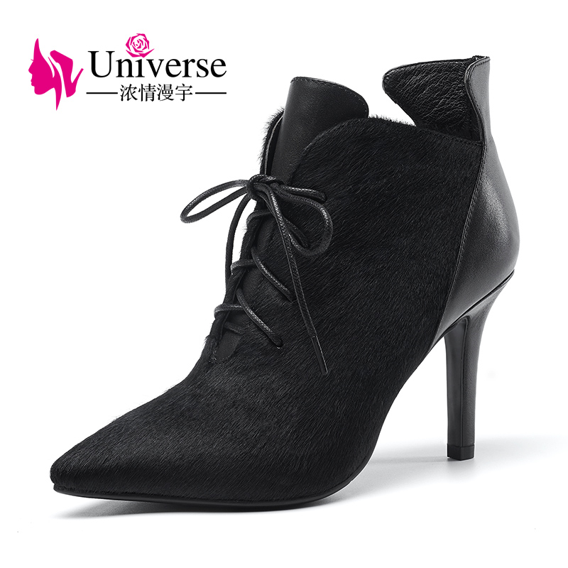 Universe New Women Boots Zipper Sexy Horsehair Pointed Toe High Heels Shoes Short Plush Winter Stiletto Ankle Boots Lace-Up G339