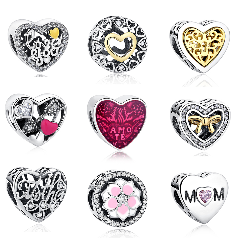 Shipinwei Authentic 925 Sterling Silver Love Heart Shape Charm Beads Fit Pandora Charm Bracelet Original Silver Jewelry