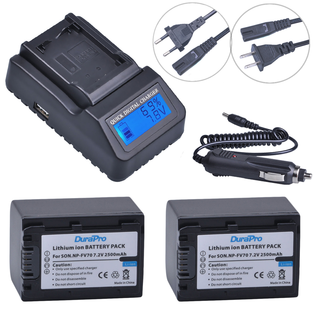 2pc 2500mAh NP-FV70 NP FV70 NPFV70 Li-ionbattery & LCD Quick Charger for Sony NP-FV50 FV30 HDR-CX230 HDR-CX150E HDR-CX170 CX300 аккумуляторы для цифровых фото и видео камер sony np fv50 hdr td10 dcr sr20e fh fp