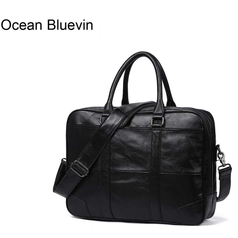 OCEAN BLUEVIN Genuine Leather bag Business Men bags Laptop Tote Briefcases Crossbody bags Shoulder Handbag Men