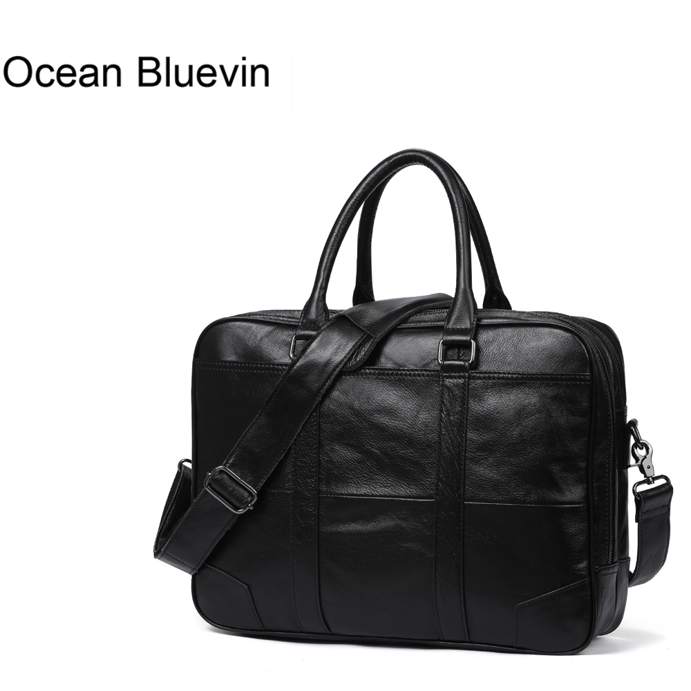 OCEAN BLUEVIN Genuine Leather bag Business Men bags Laptop Tote Briefcases Crossbody bags Shoulder Handbag Men's Messenger Bag