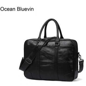 OCEAN BLUEVIN Genuine Leather bag Business Men bags Laptop Tote Briefcases Crossbody bags Shoulder Handbag Men's Messenger Bag - DISCOUNT ITEM  50% OFF All Category