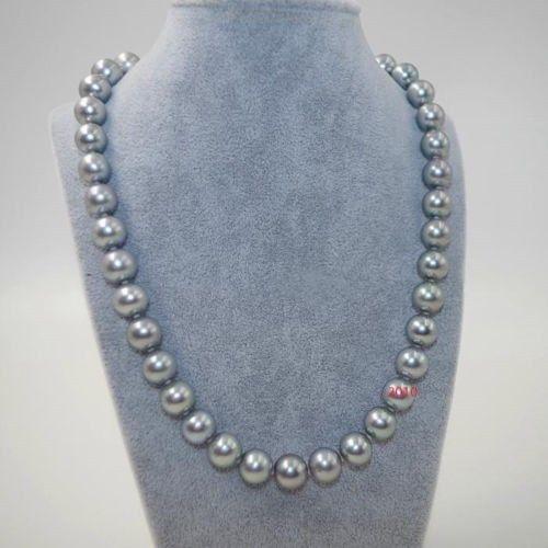 AAAAA 1812-11mm natural REAL ROUND south sea grey pearl necklace earring 14KAAAAA 1812-11mm natural REAL ROUND south sea grey pearl necklace earring 14K