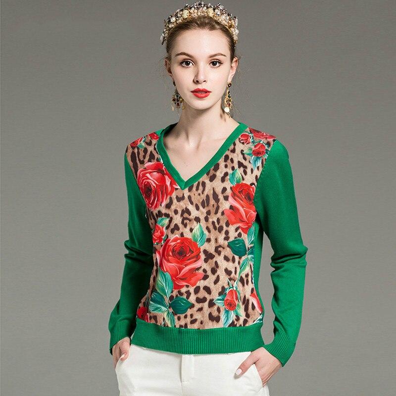 Czerwony RoosaRosee 2019 Runway projektant kobiety dzianiny swetry z długim rękawem kwiatowy Sexy Leopard Print bluzki w stylu Vintage czarny zielony sweter w Pulowery od Odzież damska na AliExpress - 11.11_Double 11Singles' Day 1