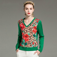 Red RoosaRosee 2019 Runway Designer Women Knit Pullovers Long Sleeve Floral Sexy Leopard Print Tops Vintage Black Green Sweater