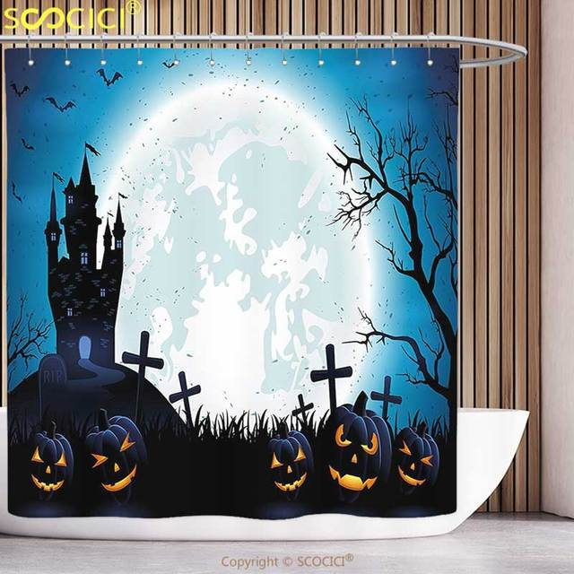 Stylish Shower Curtain Halloween Decorations Spooky Concept With Icons Old Harvest Festival Figures In Dark