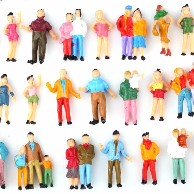 100pcs HO Scale Painted Figures People Model Scale 1:87 Model Train Passengers Assorted Pose 4