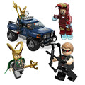 Decool building blocks super heroes loki/hawkeye/iron man con camión de loki cosmic cube escape enlighten bricks juguetes para los niños