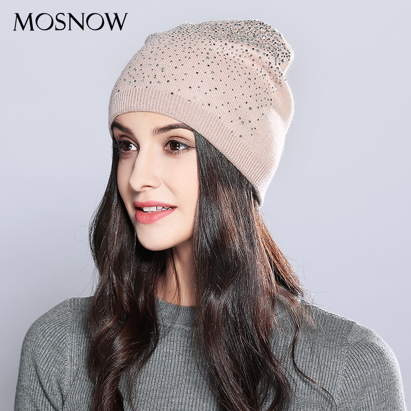 MOSNOW Winter Beanie Women Knitted Cap Wool Rhinestones Fashion New Autumn 2018 Winter Hats Female Skullies Beanies  #MZ714
