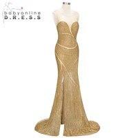 Luxury Full Beading Elegant O Neck Mermaid Evening Dress High Slit Illusion Prom Gowns Sexy Shinny Party Evening Dress