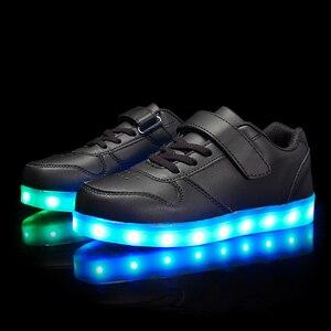 Image 2 - גודל 25 37 ילדי Led נעלי זוהר סניקרס ילד Krasovki עם תאורה אחורית USB אור עד נעלי סניקרס הזוהר עבור בני בנות