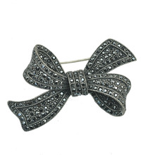 Fashion Jewelry Gunmetal Hematite Black Crystal Rhinestone Bowknot Brooch Pin For Coat