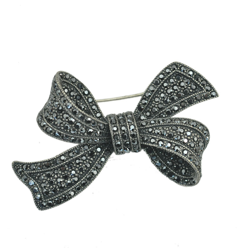 Fashion font b Jewelry b font Gunmetal Hematite Black Crystal Rhinestone Bowknot Brooch Pin For Coat