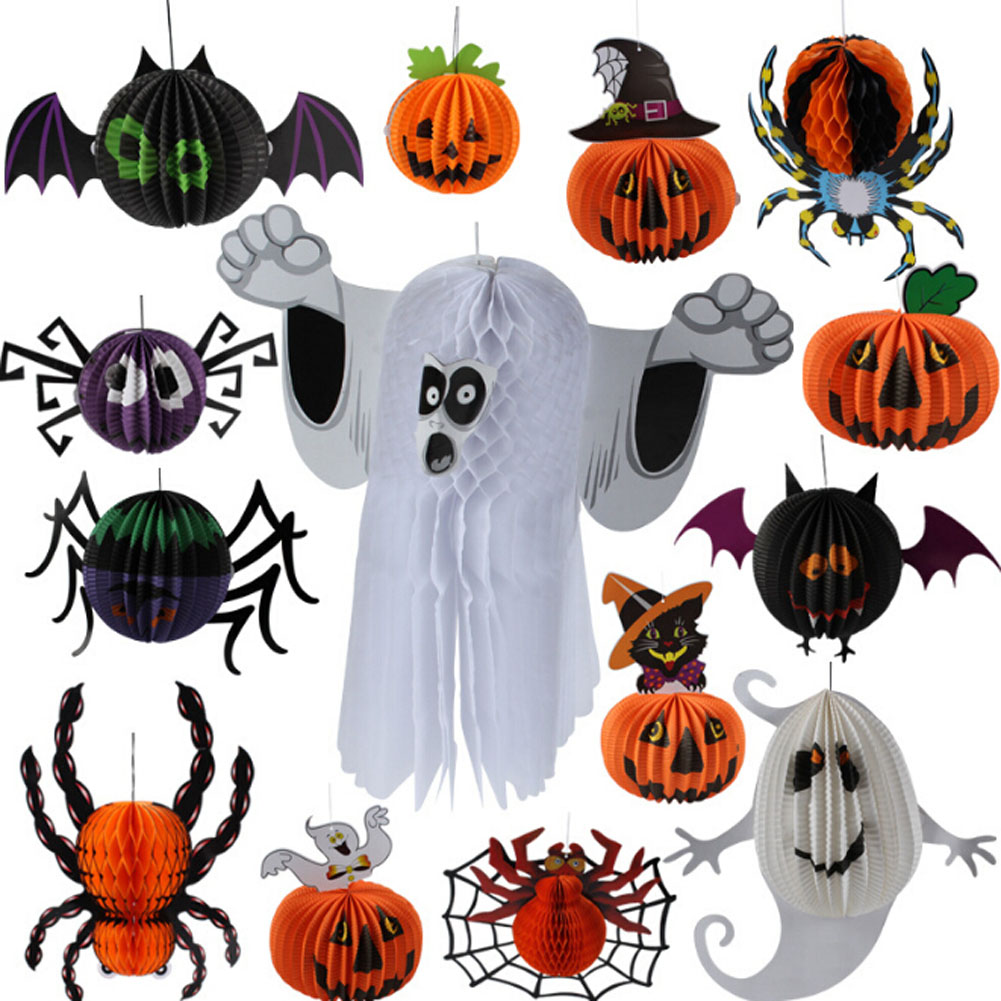 free shipping halloween decorations props three dimensional spherical whimsy ghost bats spider hanging pendant lantern wholesale