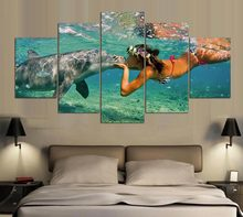 Canvas Art Print Poster Wall Modular 5 Pieces Animal Dolphins Picture Home Decoration Living Room Modern Paintings Artwork Frame(China)