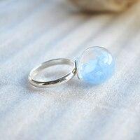 Blue Stone Glow In The Dark Luminous Resizable Mid Finger Rings For Women Summer Style Fine