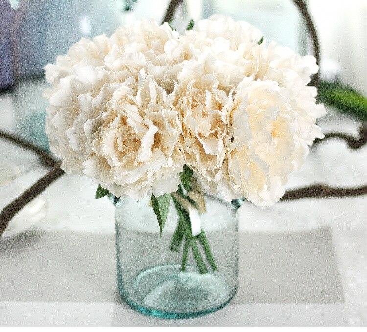 1 Bouquet 5 Heads Tiffany Blue Peony Flower Artificial Silk Fake ...