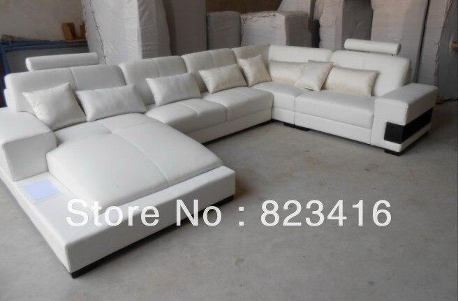 AL221 white U shape leather sofa with lowest price