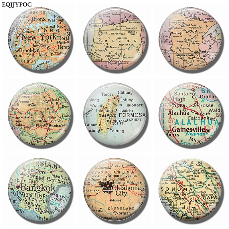California Oklahoma Bangkok Gainesville Taiwan Romania Minnesota Oregon New York Map Souvenir Fridge Magnets Refrigerator Decor image