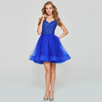Tanpell Spaghetti Straps Homecoming Dresses Royal Blue Beaded Sleeveless Gown Women Appliques Customed Short Homecoming Dress