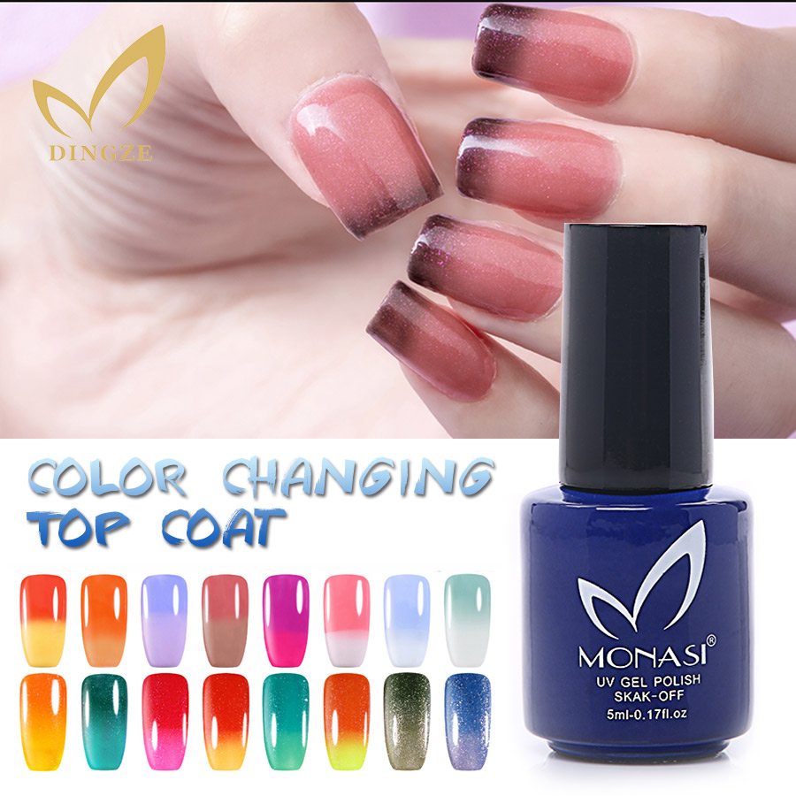Color change online - Monasi New Product 3d Color Changing Top Coat Top Quality Temperature Change Top Gel Nail Gel