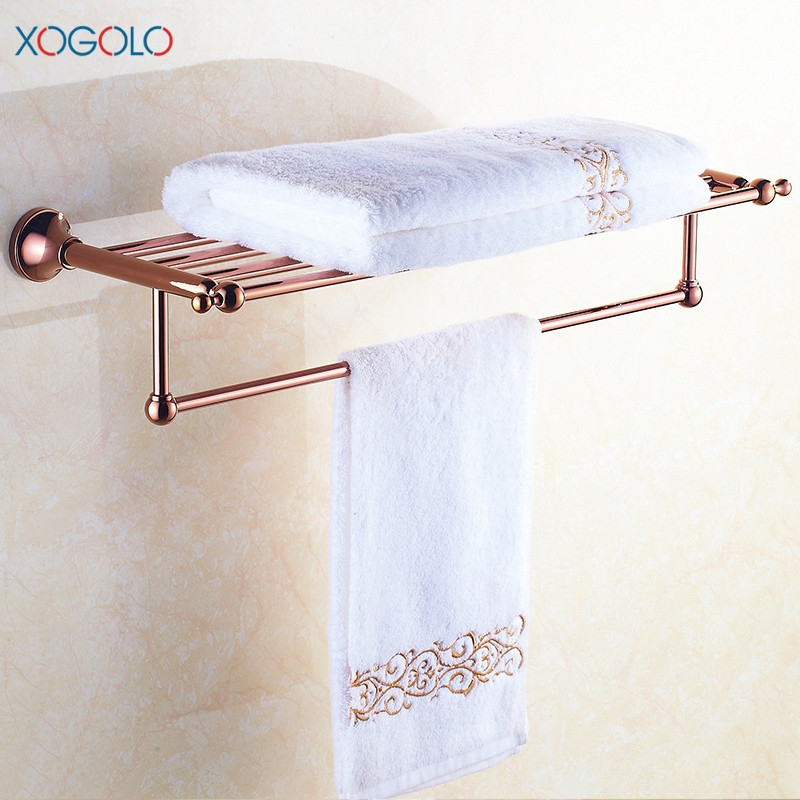 Xogolo Copper Gold-plated Wall Mounted Bathroom Towel Shelf Romantic Jade Mosaic Fixed Bath Towel Rack Holder Accessories fully copper bathroom towel ring holder silver