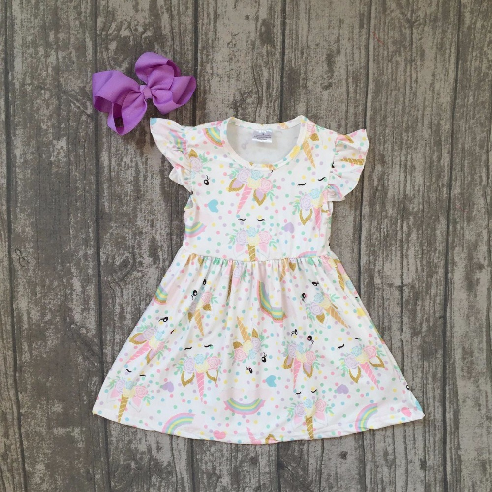 New Summer Cotton Milk Silk Baby Girls Kids Boutique Clothes Dress Short Sets Unicorn Rainbow Ruffles