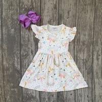 Nuovo cotone di estate seta del latte del bambino ragazze bambini boutique abbigliamento abito corto set unicorn arcobaleno increspature con accessori coordinati