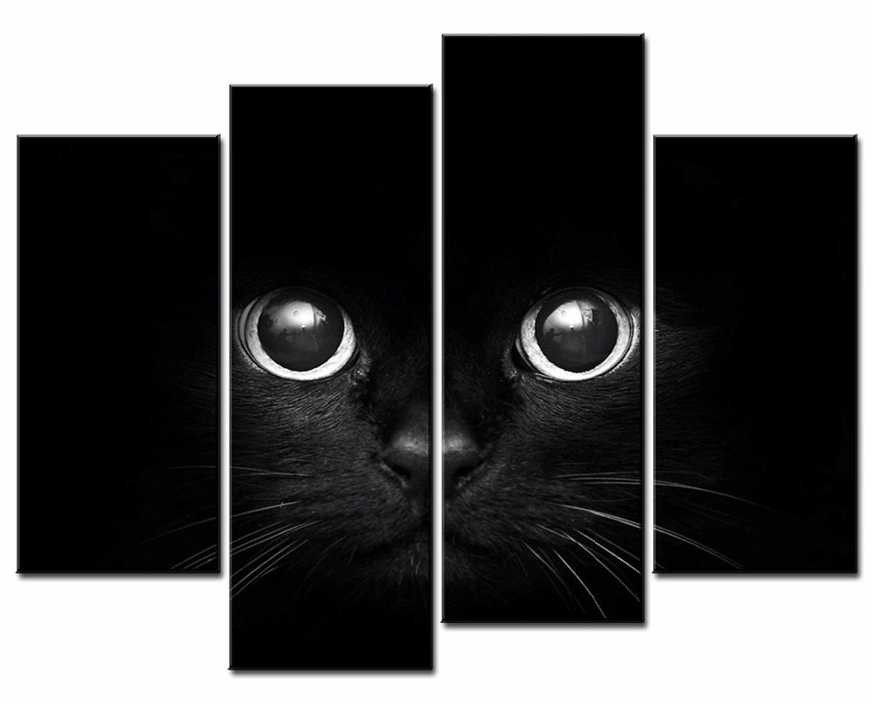 Framed 4 Panels Set Black Cat S Eye Hd Canvas Print Painting Artwork Gift Wall Art Picture Decorative Painting Xj 12y 67 Decorative Painting Wall Artprints Painting Aliexpress