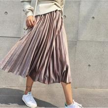Vintage Solid Khaki High Waisted Skinny Female Velvet Skirt Pleated Ski