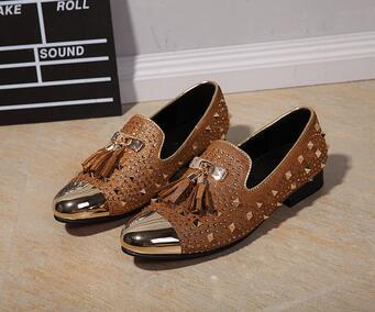 Прямая доставка Мода с бахромой и заклепками, модная обувь для вечеринок Для мужчин Элитный бренд дизайн Повседневное обувь, мужские лоферы...
