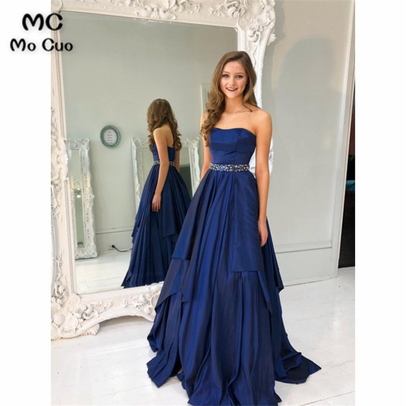 Elegant 2018 A-Line Navy Blue   Evening     Dresses   Long with Crystals Satin Sweetheart Formal   Evening   Party   Dress   Custom Made